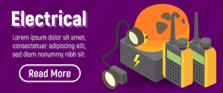 Electrical concept banner. Isometric banner of electrical vector concept for web, giftcard and postcard