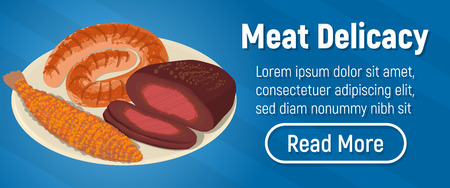 Meat delicacy concept banner. Isometric banner of meat delicacy vector concept for web, giftcard and postcard Stock Illustratie