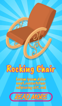 Rocking chair concept banner. Isometric banner of rocking chair comics vector concept for web, giftcard and postcard