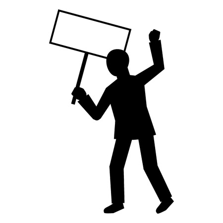 Man protest hand banner icon. Simple illustration of man protest hand banner vector icon for web design isolated on white background
