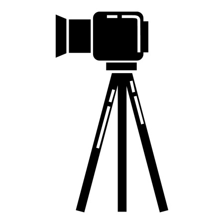 Video camera on stand icon. Simple illustration of video camera on stand vector icon for web design isolated on white background Çizim