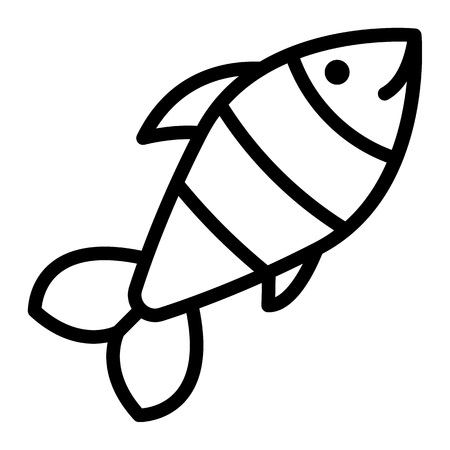 Sea fish icon. Outline illustration of sea fish vector icon for web design isolated on white background Çizim