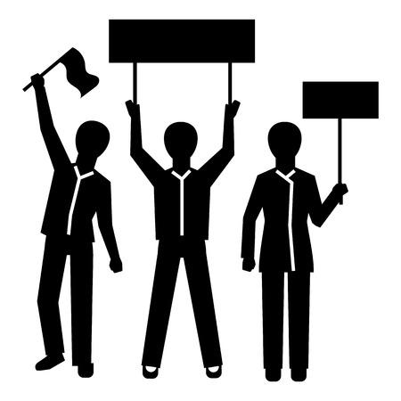Icona di dimostrazione del gruppo di persone. Semplice illustrazione del gruppo di persone dimostrazione icona vettore per il web design isolato su sfondo bianco