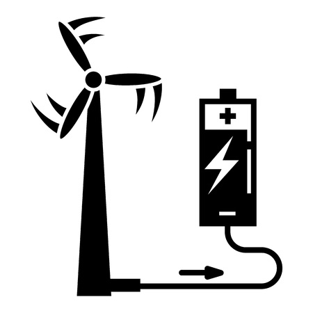 Wind turbine battery charging icon. Simple illustration of wind turbine battery charging vector icon for web design isolated on white background