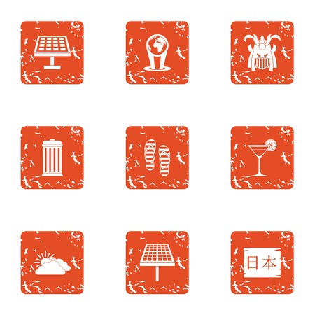 Solar plate icons set. Grunge set of 9 solar plate vector icons for web isolated on white background Çizim