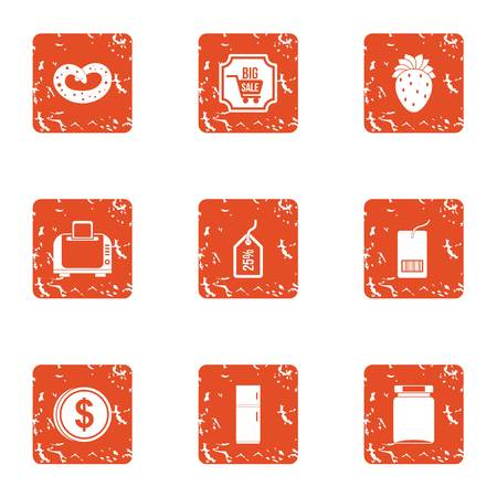 Sale plate icons set. Grunge set of 9 sale plate vector icons for web isolated on white background