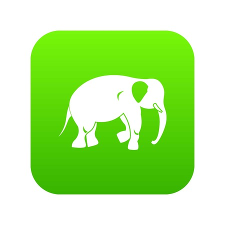 Elephant icon digital green for any design isolated on white vector illustration Ilustração
