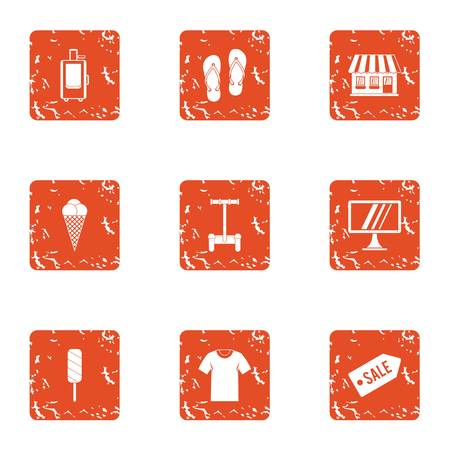 Street sale icons set. Grunge set of 9 street sale vector icons for web isolated on white background