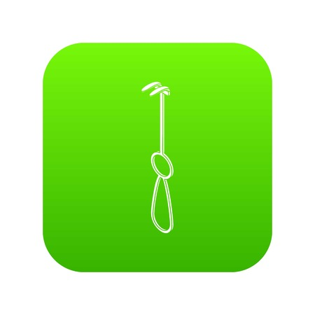 Surgery hook icon green vector isolated on white background Illustration
