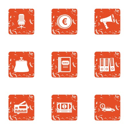 Office icons set, grunge style