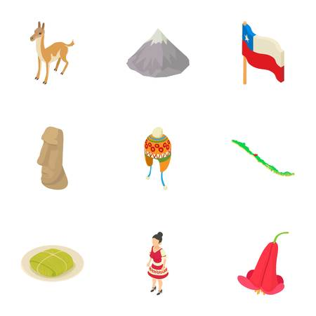 Mountain life icons set. Isometric set of 9 mountain life vector icons for web isolated on white background