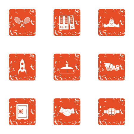 Record award icons set. Grunge set of 9 record award vector icons for web isolated on white background Vettoriali