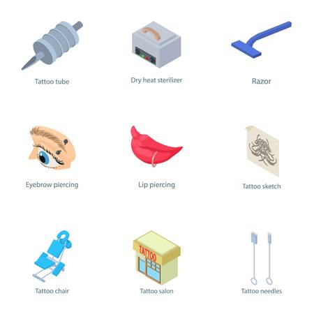 Puncture icons set. Isometric set of 9 puncture vector icons for web isolated on white background Vectores