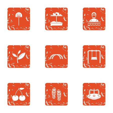 City playgarden icons set. Grunge set of 9 city playgarden vector icons for web isolated on white background Иллюстрация