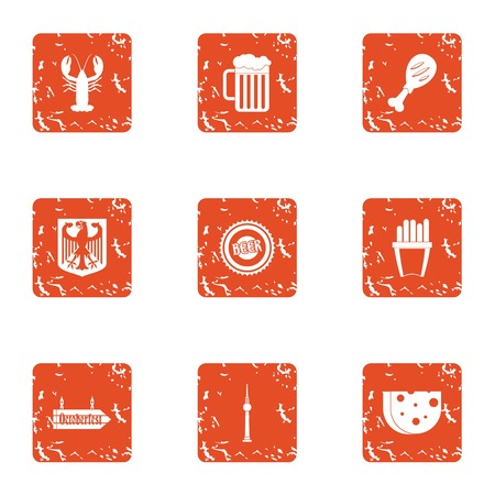 Sea grill icons set. Grunge set of 9 sea grill vector icons for web isolated on white background