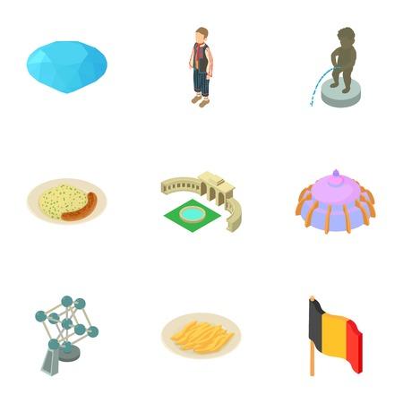Deutschland icons set. Isometric set of 9 deutschland vector icons for web isolated on white background Illustration