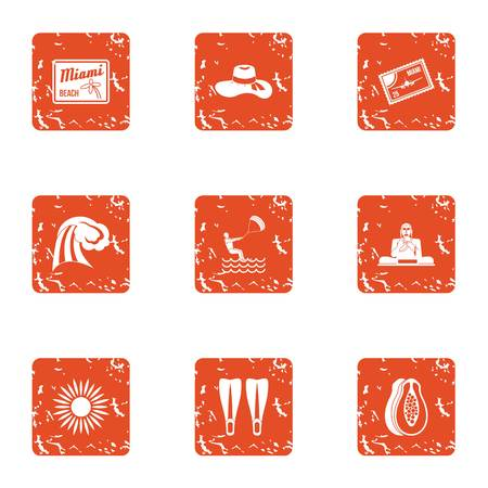 Sunny day icons set. Grunge set of 9 sunny day vector icons for web isolated on white background