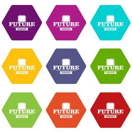 Future cpu icons set 9 vector