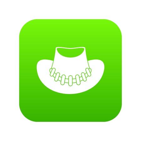 Cowboy hat icon digital green