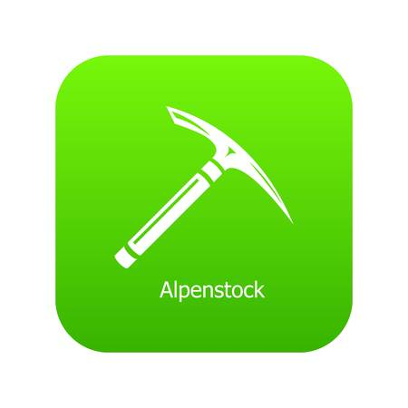 Pickaxe icon green vector isolated on white background  イラスト・ベクター素材