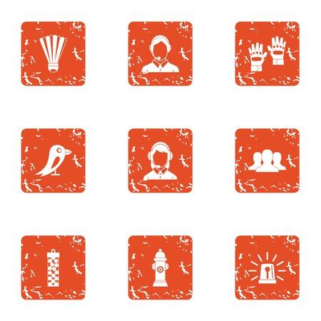 Notice icons set, grunge style Ilustração