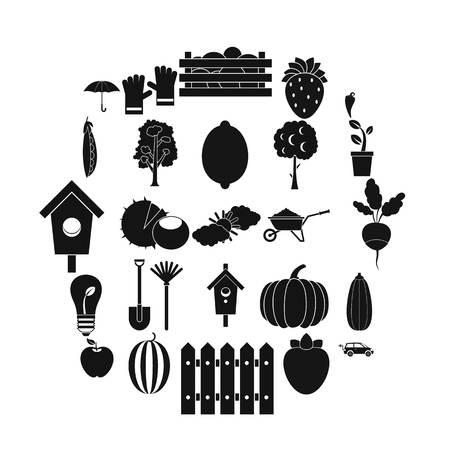 Collecting vegetables icons set. Simple set of 25 collecting vegetables vector icons for web isolated on white background Ilustração