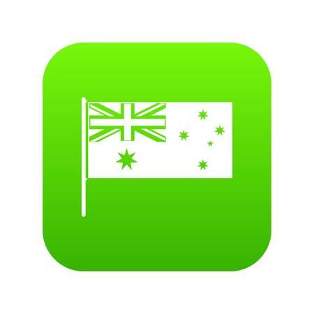 Australian flag icon digital green 일러스트