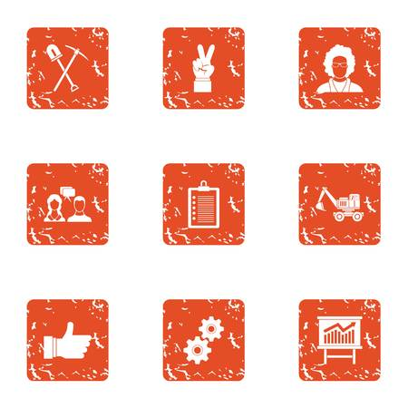 Workflow process icons set. Grunge set of 9 workflow process vector icons for web isolated on white background