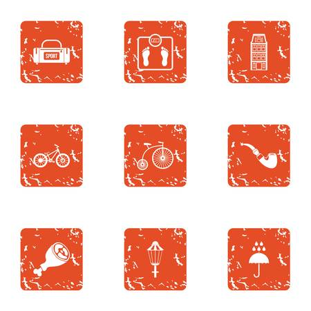 Sport tab icons set. Grunge set of 9 sport tab vector icons for web isolated on white background