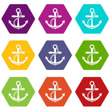 Anchor icons set 9 vector