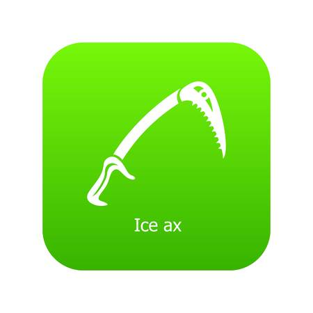 Ice ax icon green vector isolated on white background