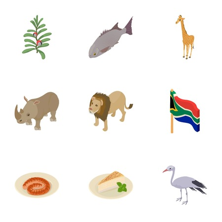 Africa feral icons set. Cartoon set of 9 africa feral vector icons for web isolated on white background Иллюстрация