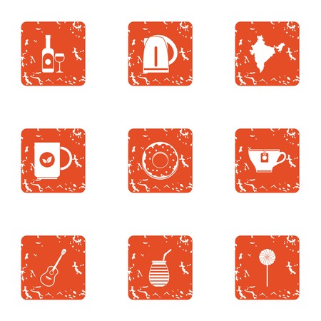 Wine place icons set. Grunge set of 9 wine place vector icons for web isolated on white background