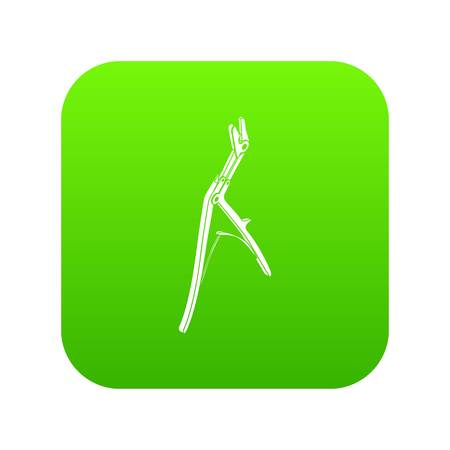 Surgical pincers icon green vector Illustration