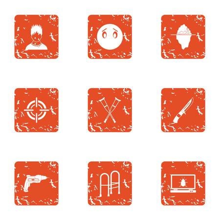 Accident experiment icons set, grunge style