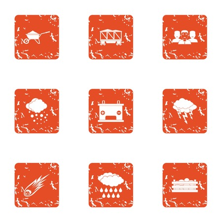 Context icons set. Grunge set of 9 context vector icons for web isolated on white background