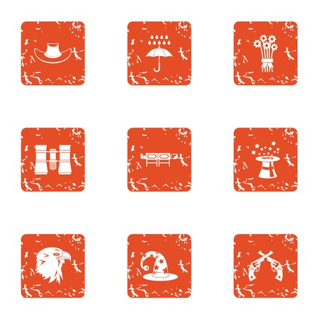 Global show icons set. Grunge set of 9 global show vector icons for web isolated on white background
