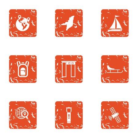 Pleasure craft icons set, grunge style