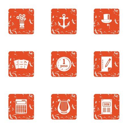 Port economy icons set. Grunge set of 9 port economy vector icons for web isolated on white background