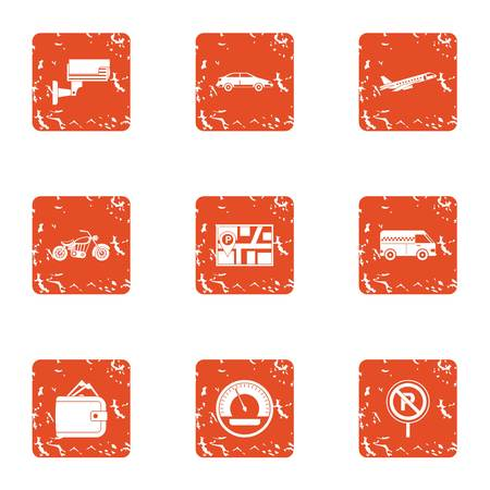 Online map icons set. Grunge set of 9 online map vector icons for web isolated on white background