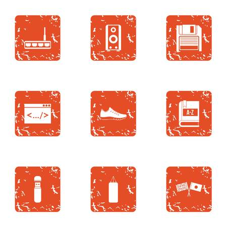 Reprogramming icons set. Grunge set of 9 reprogramming vector icons for web isolated on white background