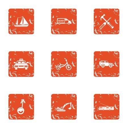 Heavy machinery icons set. Grunge set of 9 heavy machinery vector icons for web isolated on white background Çizim