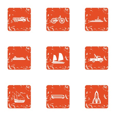 Heavy engineering icons set. Grunge set of 9 heavy engineering vector icons for web isolated on white background Иллюстрация