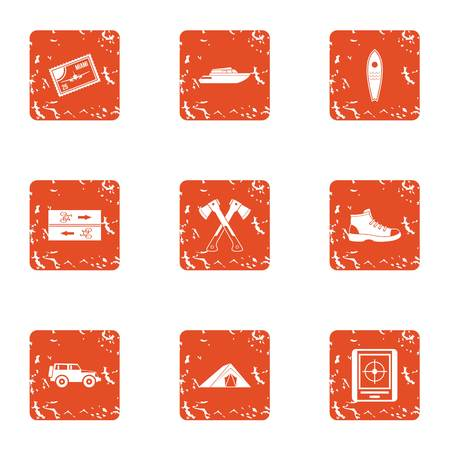 Forest rush icons set. Grunge set of 9 forest rush vector icons for web isolated on white background