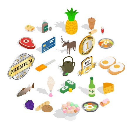 Gastronomy icons set. Isometric set of 25 gastronomy vector icons for web isolated on white background Stock Illustratie