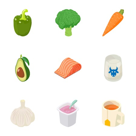 Proper diet icons set. Isometric set of 9 proper diet vector icons for web isolated on white background
