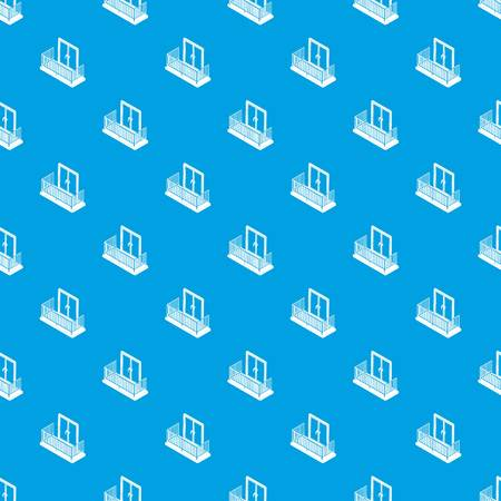 Balcony with metal fencing pattern vector seamless blue repeat for any use