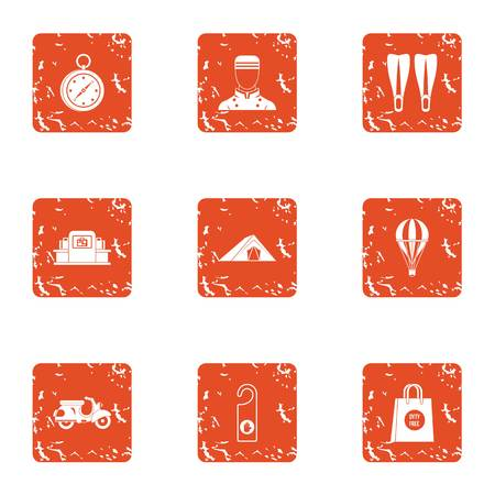 Beachfront hotel icons set. Grunge set of 9 beachfront hotel vector icons for web isolated on white background