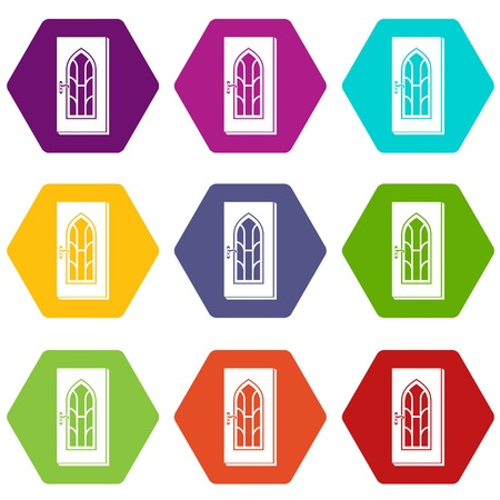 Arched glass door icons 9 set coloful isolated on white for web Çizim