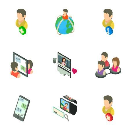Gossip icons set. Isometric set of 9 gossip vector icons for web isolated on white background Çizim